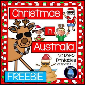 Free Christmas in Australia no prep printables - web quest, bookmarks, Santa Narrative writing poster!