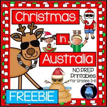 Free Christmas in Australia no prep printables - web quest, bookmarks, Santa Narrative writing poster!