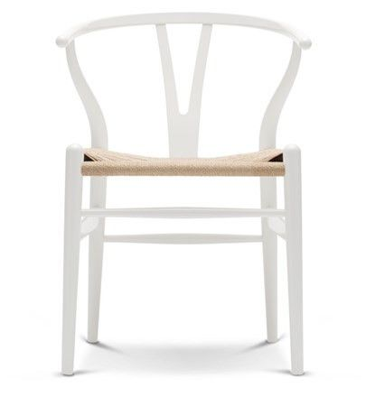 Krzesła Wishbone Chair- kolor, naturalne siedzisko | Designzoo