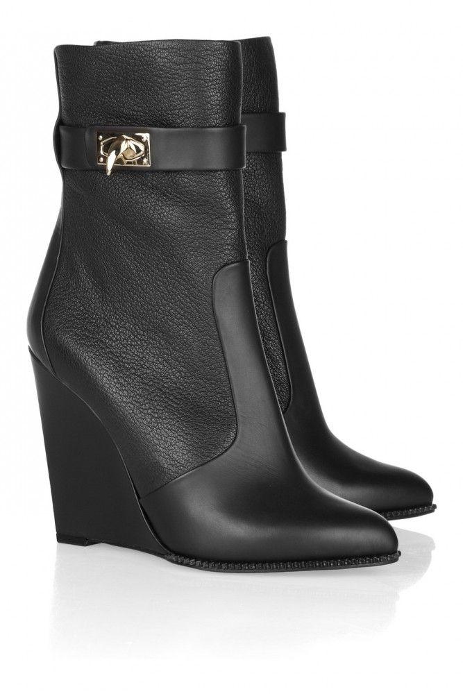 Полусапожки Givenchy из натуральной кожи на каблуке, черные #19644