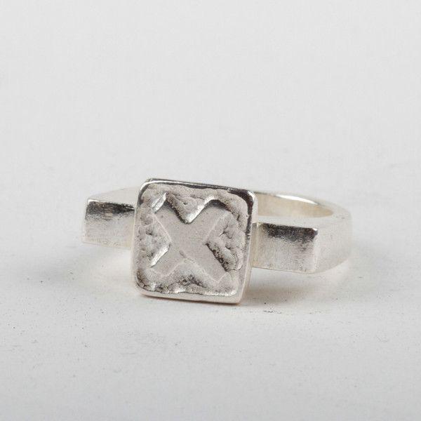 X Tile Ring - Silver | DARKBLACK $205 NZD