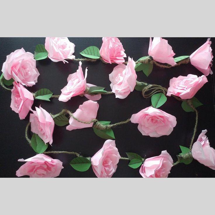 Large Rose Garland, Large Paper Flower Garland, Pink Roses, Minimalist garland for weddings, nursery   Scott's Marketplace