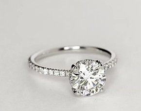 Blue Nile Studio Petite French Pavé Crown Diamond Engagement Ring in Platinum (1/3 ct. tw.)