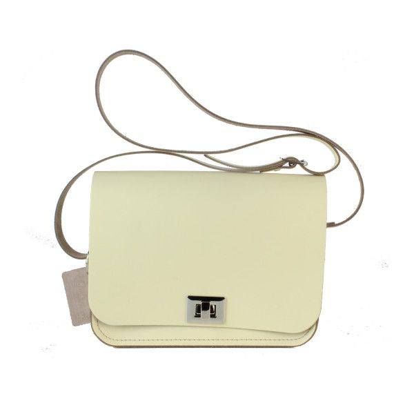 Pixie Bag (Medium-Sized Crossbody Bag) made from Sherbet Lemon Leather (£110) via Polyvore featuring bags, handbags, shoulder bags, leather cross body handbags, beige shoulder bag, leather handbags, crossbody shoulder bag и beige handbags