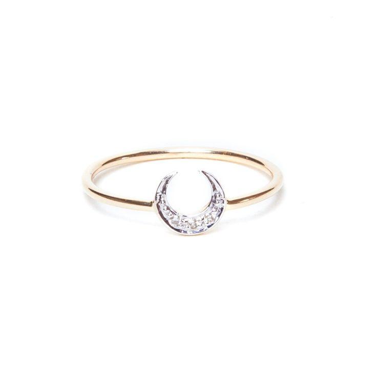 Diamond Crescent Moon Ring