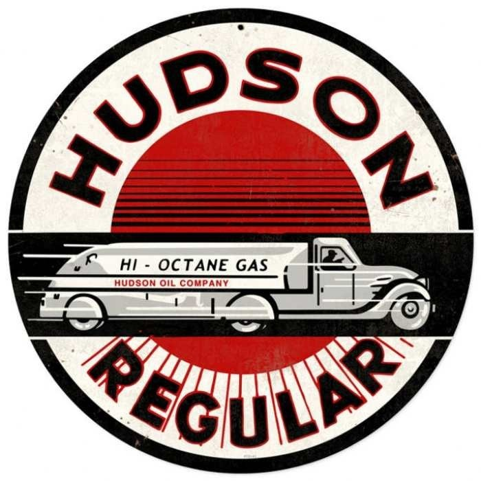 Old Vintage Car Signs : Retro hudson gasoline metal sign inches