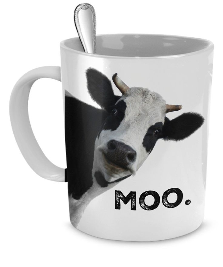 """Cow Face Mug with Profound Message of """"Moo"""" 11 oz"""