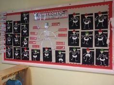 Funny bones display in reception class EYFS all about me topic