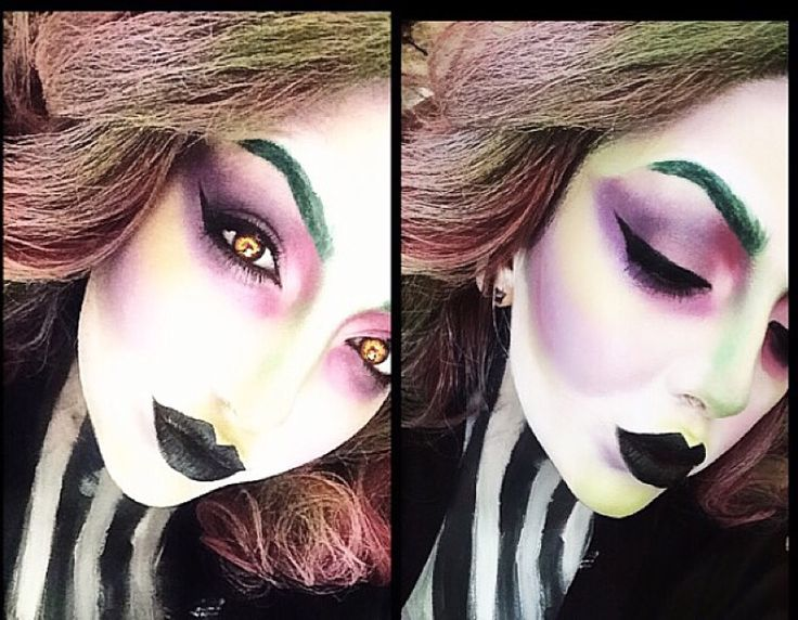 female version of beetlejuice halloween makeup
