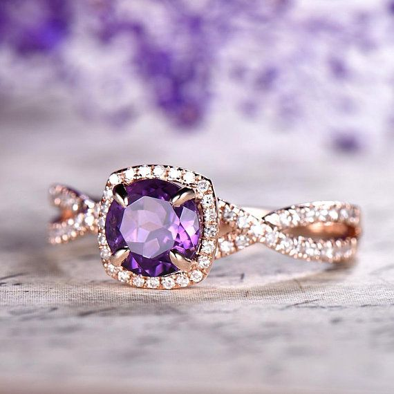 REAL STERLING SILVER /& 18K GOLD Women/'s Vintage Style Amethyst Design Band RING