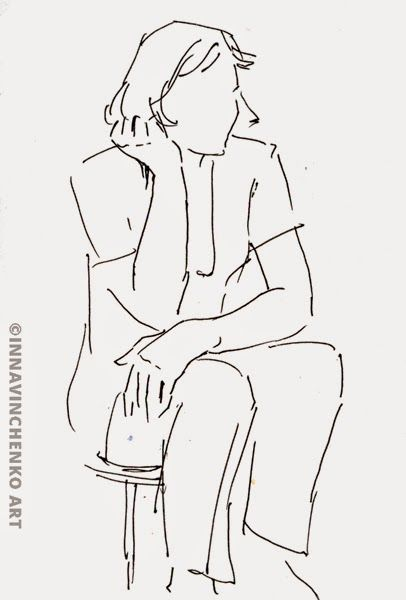 My mom sitting and thinking... http://vinchenko.blogspot.com/2014/08/when-started-my-love-for-sketching.html