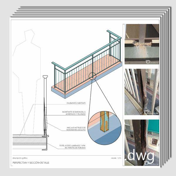 Pack de detalles constructivos .dwg y .pdf: Rehabilitación y reparación de elementos metálicos de fachada.