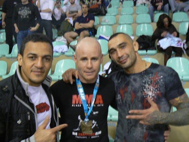 L to R: Mauro (bjj coach), Colin, Florin (MMA coach) at BJJ Europeans in Lisboa