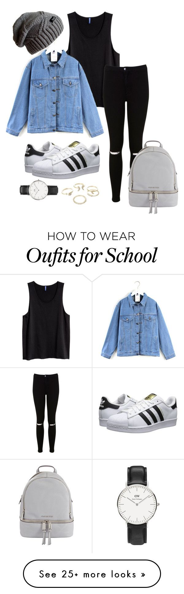 """School outfit"" by xflurox on Polyvore featuring Miss Selfridge, Quintess, adidas Originals, MICHAEL Michael Kors, Lipsy and Daniel Wellington"