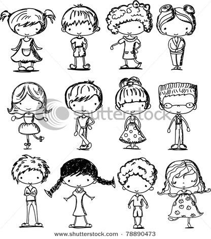 cartoon drawings of children