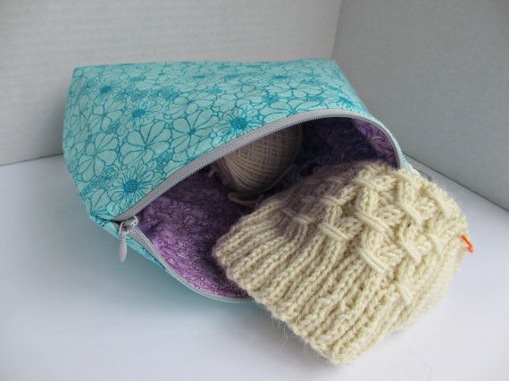 Small Knitting Project Bag Blue Floral, Zip Knitting Bag, Project Bag, Sock Knitting Bag, Hat Knitting Bag, Wedge Knitting Bag, Notion bag