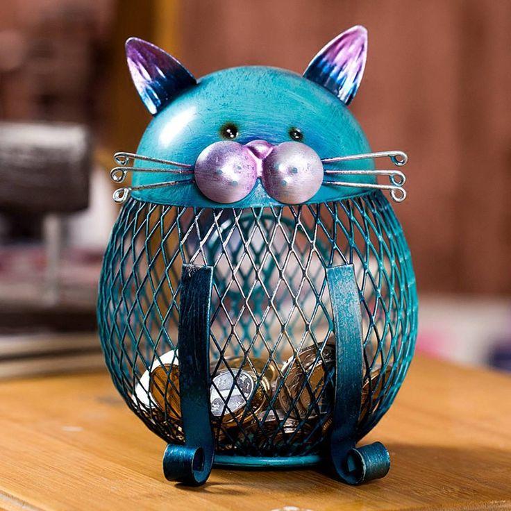 Blue Cat Piggy Bank Metal Figurine. Cute gift idea for cat lovers!