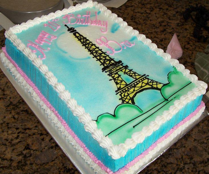 Paris Birthday Cake With Bow Sheet Cake