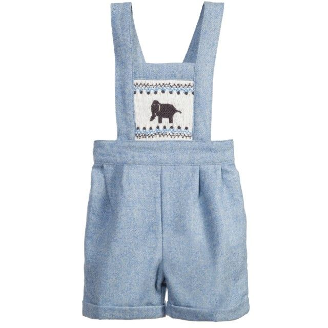 Rachel Riley - Baby Boys Pale Blue Elephant Smocked Tweed Dungarees | Childrensalon