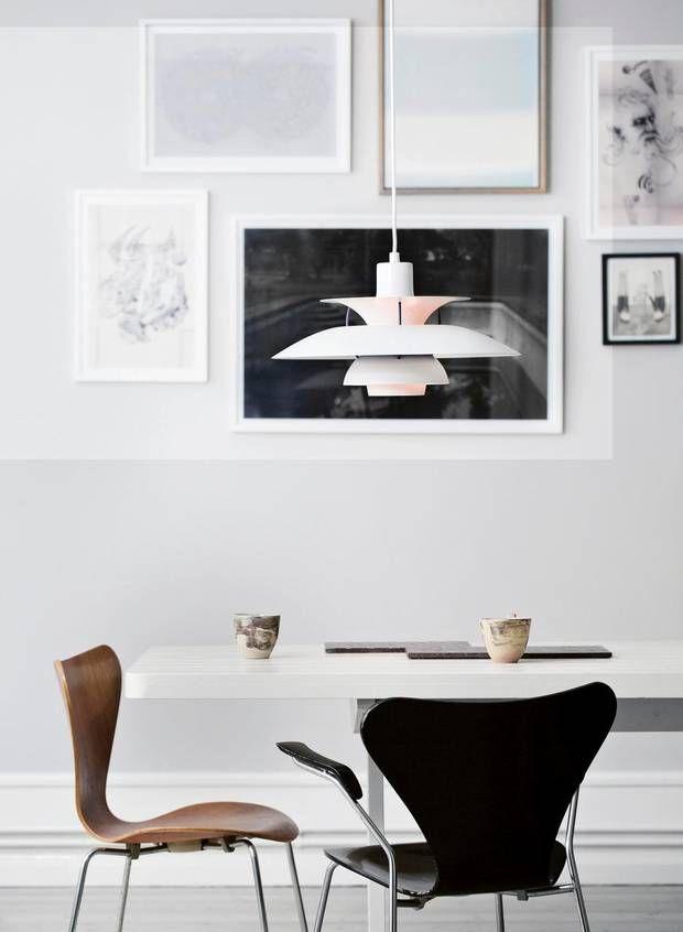 PH5 by Poul Henningsen from Louis | Series 7 chair by Arne Jacobsen from Fritz Hansen | PH-lampen blev første gang designet i 1926 af Poul Henningsen, imens producenten var Louis Poulsen og Co. PH-lamper er specielt gode til at styre lyset, reflektere og tone det. En PH-lampe kan koste op til 60.000 for det design, der er kendt som Koglen.