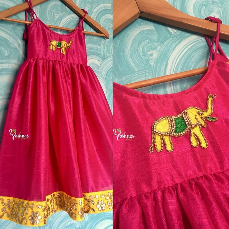 For a Cutie Pie! Lovley designer gown for kids with elephant design hand embroidery work. Pink and yellow is beautiful combination. Yoshnas By Ela.  28 June 2017
