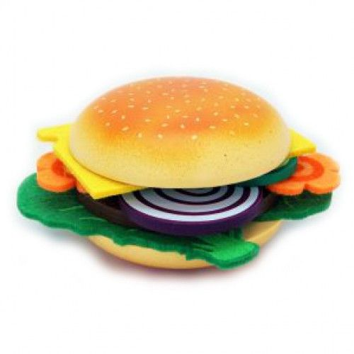 Create your own hamburger!  The set contains the following wooden pieces:  Hamburger bun Meat pattie 2 onion slices 2 pieces of cucumber  The set also includes felt cheese, lettuce and carrot.