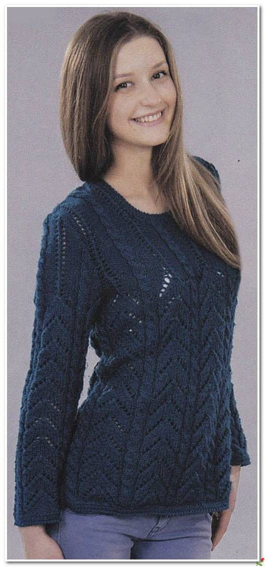 Вяжем синий пуловер спицами.. Обсуждение на LiveInternet - Российский Сервис Онлайн-Дневников