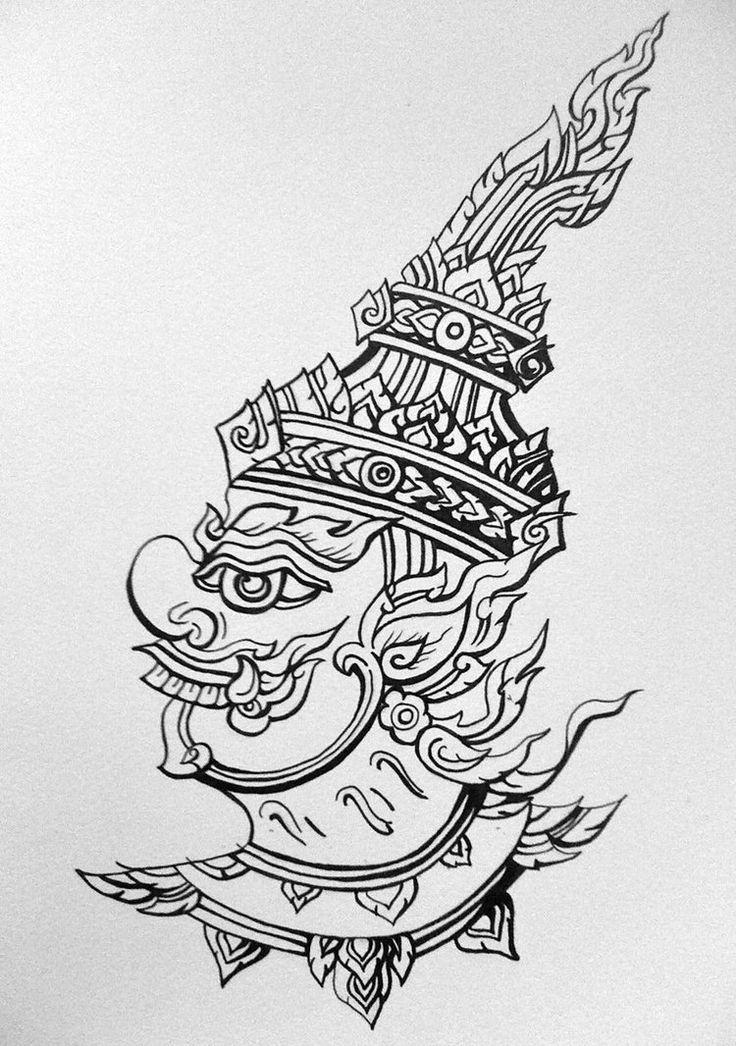 Thai art (lineart) by ~tyrantwyvern on deviantART