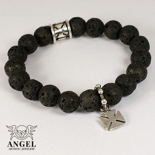 Crusader Black Lava - bransoleta I / Anioł / Biżuteria / Dla mężczyzn
