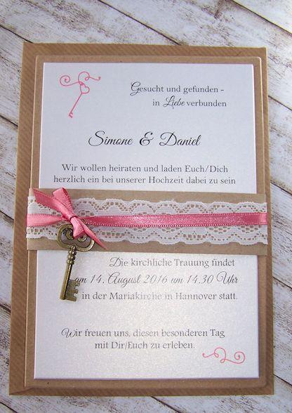 Einladung Vintage Kraft/rostrosa Mit Schlüssel U0026 Spitze