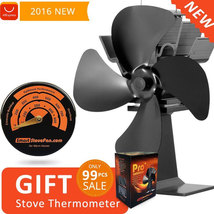 Regalo libre Magnético Termómetro De Cocina con Estufa De Leña Estufa de Calor Alimentado Ventilador Eco Ventilador
