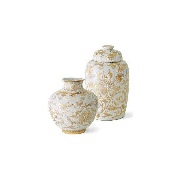 Williams Sonoma Home Gold Amp White Ginger Jars Found On Polyvore Ginger Jars Pinterest