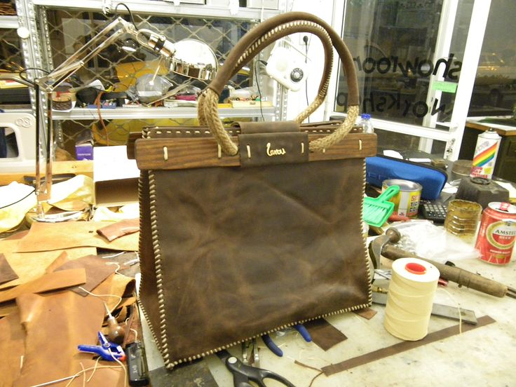 handmade leather bag with wood