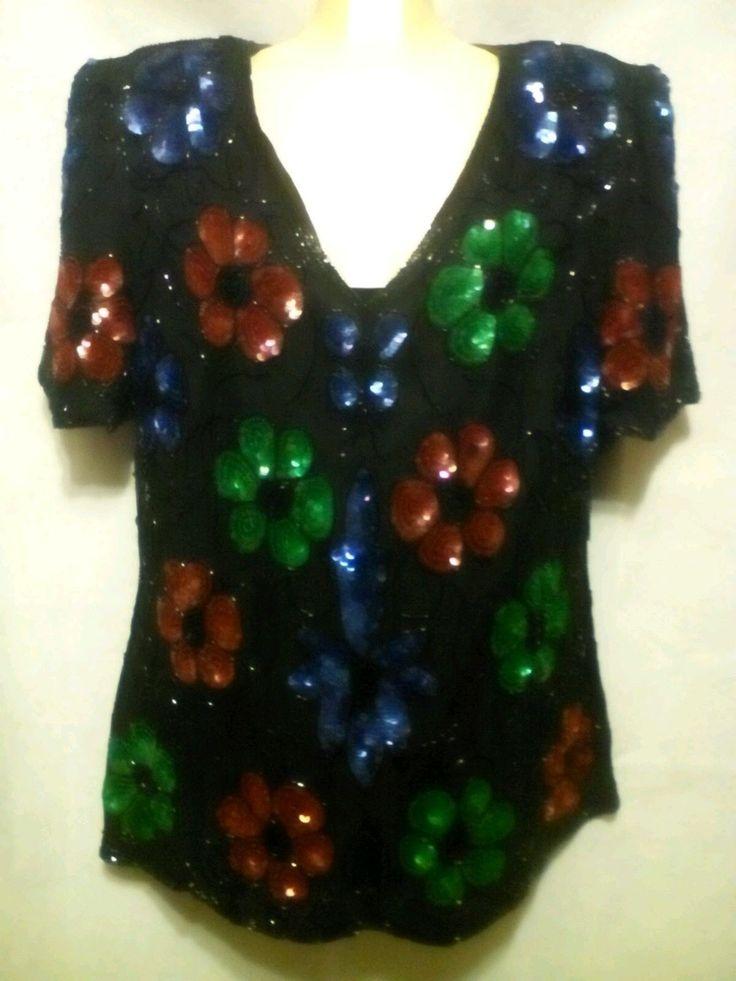 Stenay Plus Evening top SEQUINS 100% Silk Blouse Shirt , Lined 1X BLING DINNER   eBay