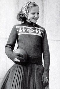 Free Vintage Knitting Pattern : Pullover Sweater, Mittens & Ear Warmer knit patterns from the 50s