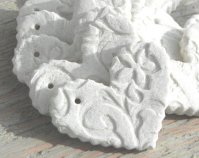 DIY Mini Imprinted Hearts Set of 10 Unfinished Ruffled DIY Heart Ornaments / Wedding / Baptism  with Hole
