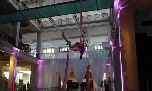 Aerial Silk display at Corporate Event in the Science Museum