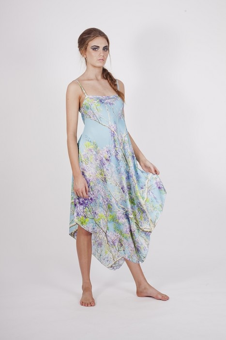 Long Silk Georgette Dress Printed with the Purple Jacaranda Tree - by HarrietJane on madeit