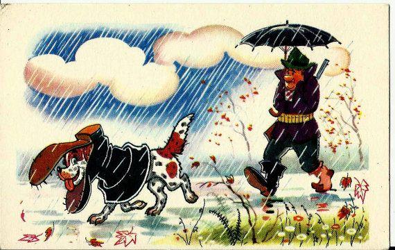 Funny - Hunter and dog  - Vintage Russian Soviet Postcard