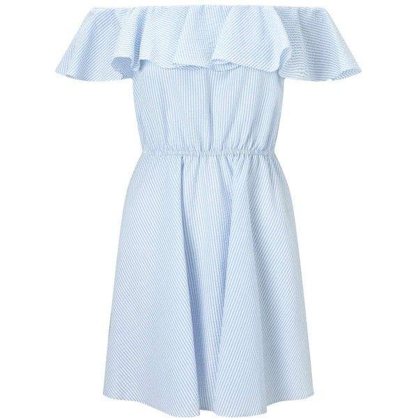 Miss Selfridge PETITE Poplin Stripe Bardot Sundress ($68) ❤ liked on Polyvore featuring dresses, blue, petite, blue dress, striped sundress, petite summer dresses, blue striped dress and striped skater dress