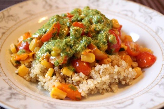 Quinoa Salad with 3-Herb Green Sauce | Recipes: Vegetarian Protein ...