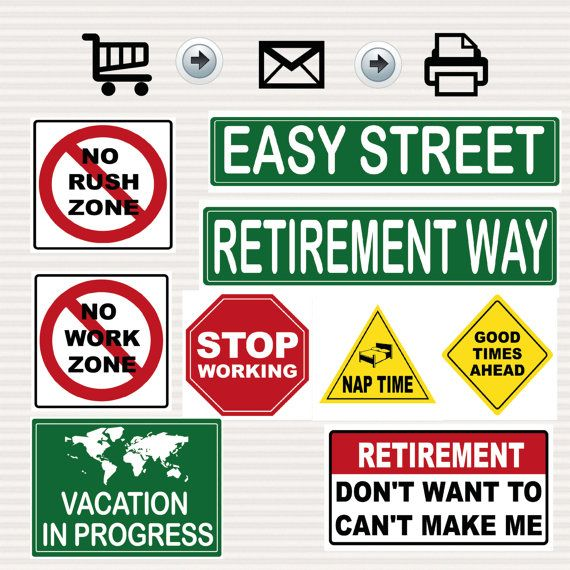 Retirement Party Signs Kit - Road Signs - Travel Theme - Road Theme
