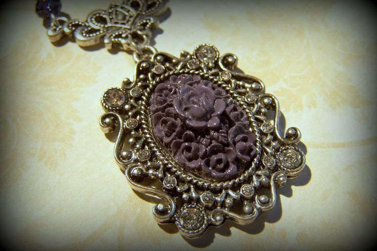 Ornate Victorian Style Purple and White Opal Necklace. by ShelbyAnnDesigns on Etsy
