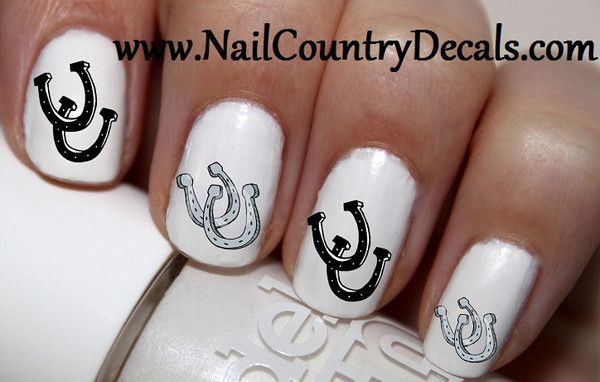 50 pc Black N Sliver Dbl Horse Shoes Nail Decals Nail Art Nail Stickers Best Price NC453