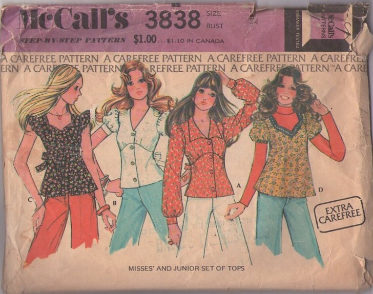 MOMSPatterns Vintage Sewing Patterns - McCall's 3838 Vintage 70's Sewing Pattern PRETTY Extra Carefree Bohemian Babydoll Smock Top Blouse, Empire Waist, Button Front, Puff or Flutter Sleeve, Tie Back