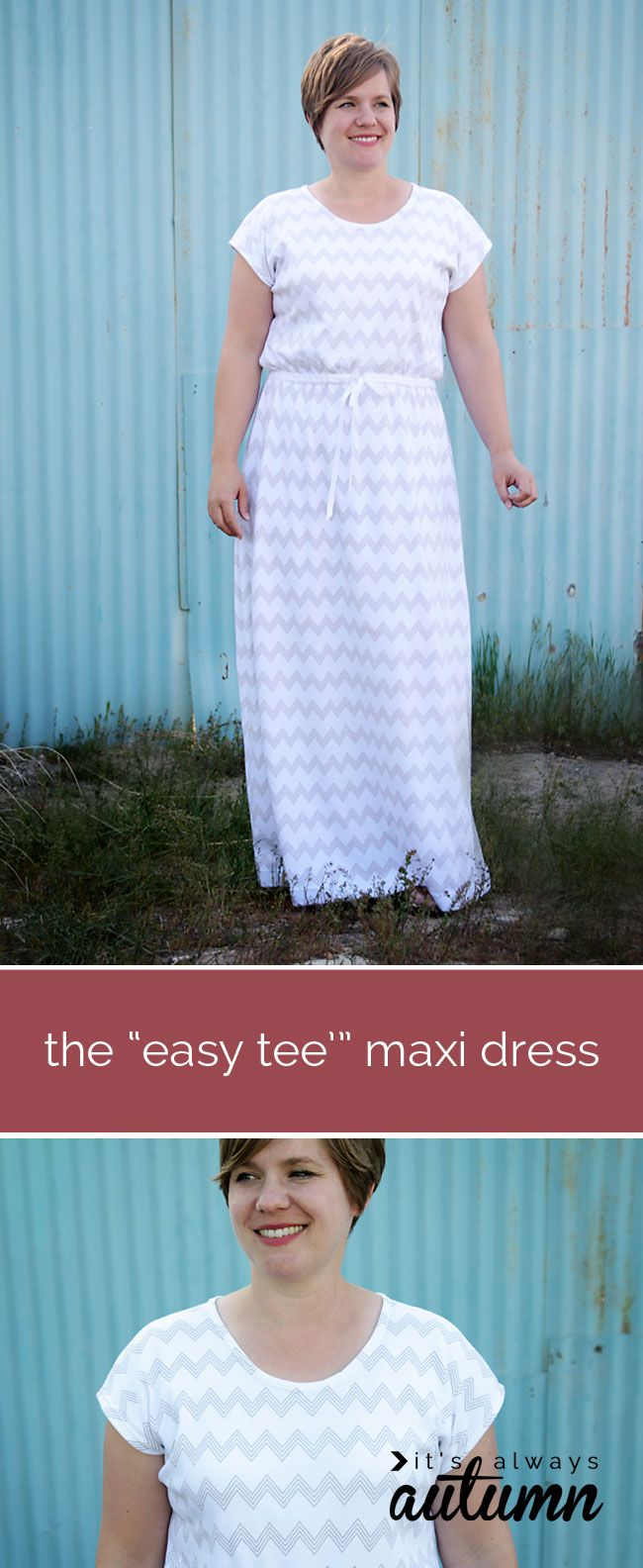 love this easy to sew maxi dress tutorial - and it has sleeves! make it using a free t-shirt pattern.