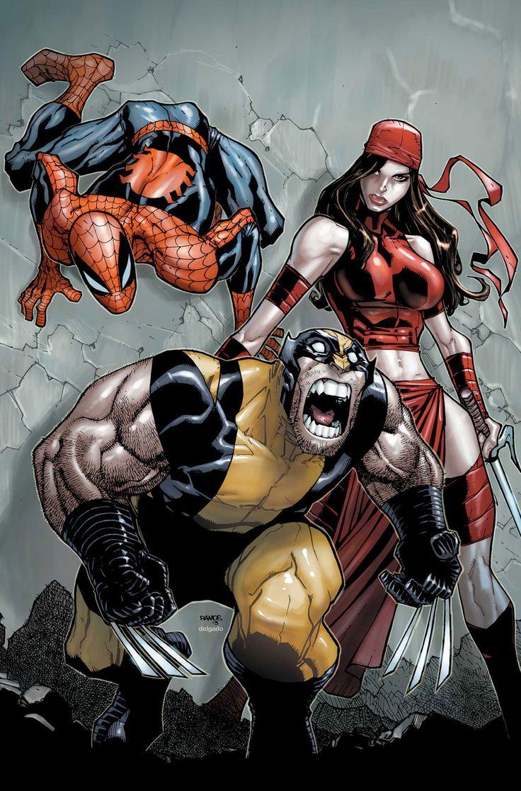 Wolverine, Spider-Man, & Elektra by Humberto Ramos
