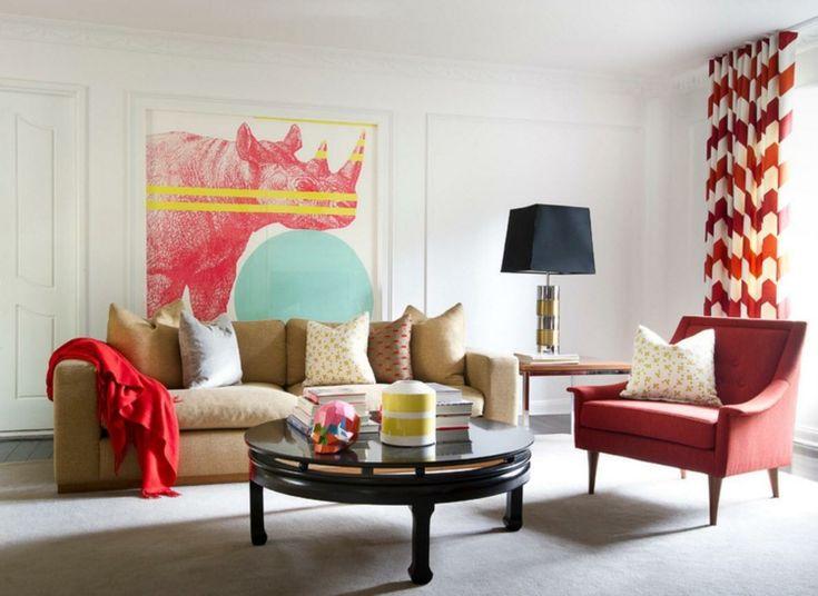 rideaux salon tendance en blanc et rouge motifs assortis au fauteuil rouge et au - Salon Moderne But