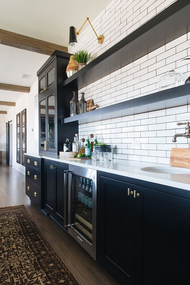 Modern Farmhouse Kitchen Black Cabinets Painted In Benjamin Moore