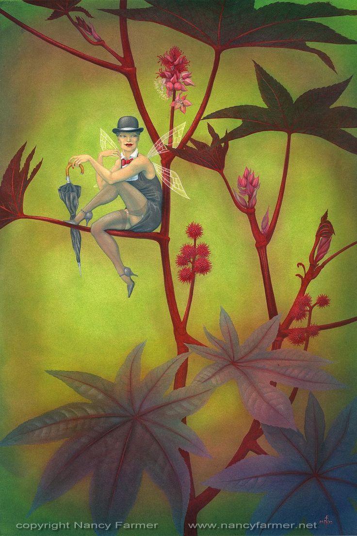 Ricinus Communis, the Fairy of the Castor Bean Plant. NANCY FARMER is one of my favorite artists! Check her out: SHOP http://www.NancyFarmer.net | SHOP http://www.etsy.com/shop/nancyfarmer | FACEBOOK https://www.facebook.com/pages/Nancy-Farmer/22600840729 | BLOG http://nancyfarmer.wordpress.com